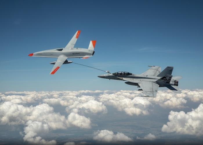 MQ-25 T1 test asset transfers fuel to a U.S. Navy F/A-18 Super Hornet